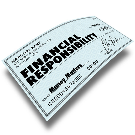 fees: Financial Responsibility words on a check as payment of money owed such as bills, mortgage or credit card debt Stock Photo