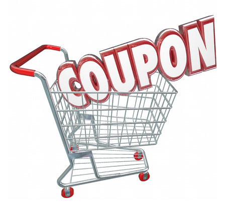 ordering: Coupon word in 3d letters in a store shopping card to illustrate buying merchandise in a deal or money saving offer Stock Photo