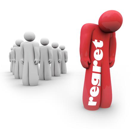 後悔の気持ちや失望、苦味、謝罪、悲しみ、または分離の感情を説明するために人に単語