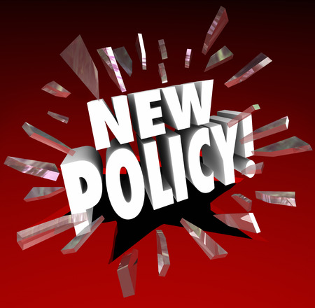 political system: New Policy 3d words breaking through red glass announcing updated official rules, regulations or steps for compliance Stock Photo