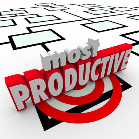 La plupart des mots productives en lettres 3d sur un graphique de l'entreprise ou de l'organisation de l'entreprise pour mettre en lumière le meilleur ou le plus efficace ouvrier ou un employé