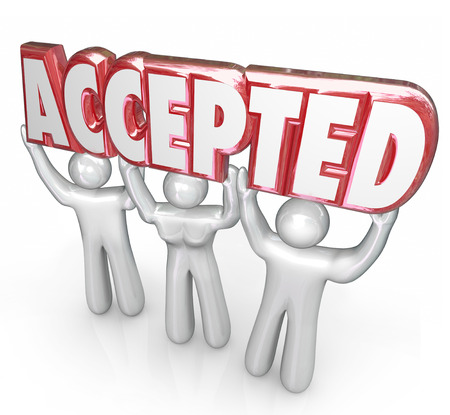 Accepted word in 3d letters held by three people as a response, answer or other positive feedback to your application