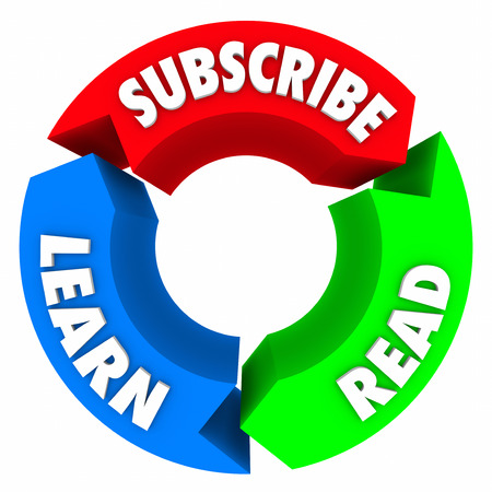 registering: Subscribe, Read and Learn words on a three arrow circle diagram to illustrate signing up for a newsletter, newspaper or magazine and getting information or updates