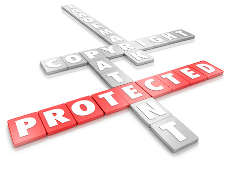 copyrighted: Protected word on letter tiles and terms for legal protection including copyright, trademark and patent