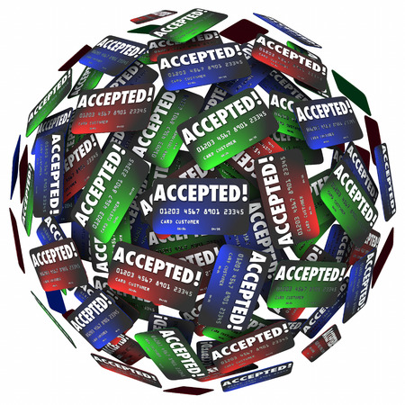 loaning: Credit cards in a sphere with the word Accepted to illustrate your payment choice allowed for purchase of goods at a store or merchant