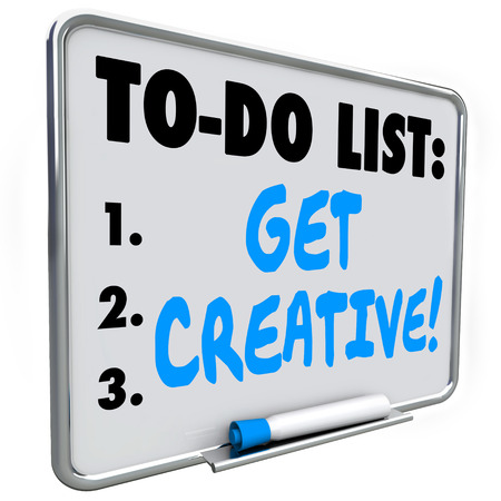 unorthodox: Get Creative words on a to do list written on a dry erase board to encourage inventive, fresh, original thinking