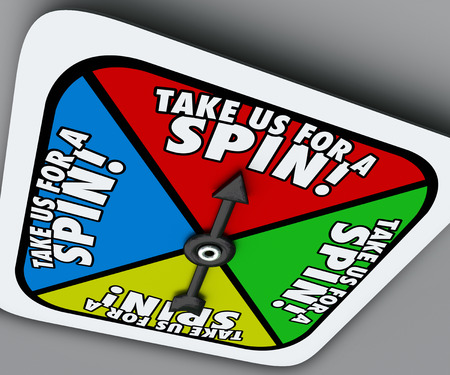 period: Take Us for a Spin words on a game board spinner telling you to try a product or service in a trial period or test Stock Photo