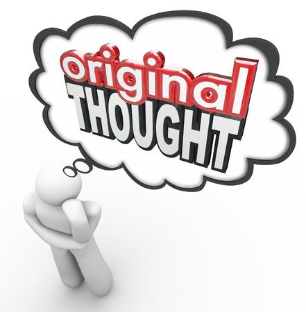 Mots de pensée originale en lettres 3d dans le cloud d'un penseur pour illustrer un nouveau, créatif ou imaginatif idée, invention ou la notion Banque d'images - 36270350
