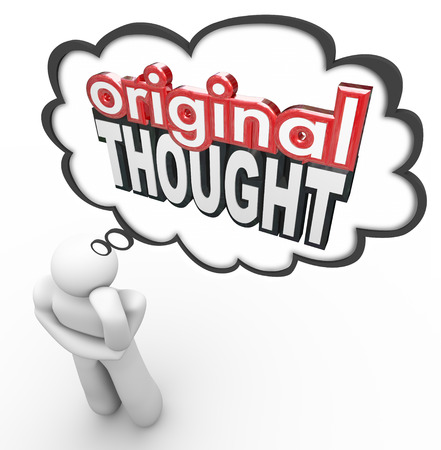 thinkers: Original Thought words in 3d letters in a thinkers cloud to illustrate a new, creative or imaginative idea, invention or notion Stock Photo