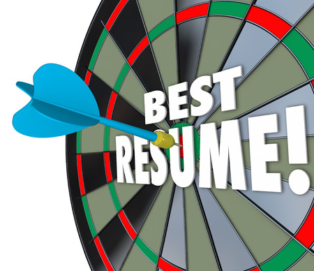 references: Best Resume 3d words on a dart board to illustrate your skills, experience, references and education for a job application
