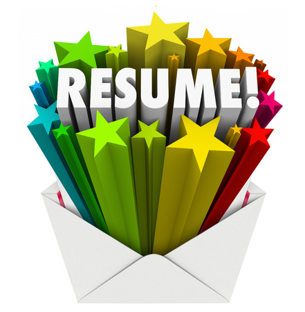 out of job: Resume 3d word and stars bursting out an envelope to illustrate promoting your skills, knowledge, expertise, experience and references as best candidate for a job application