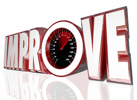 better performance: Improve word in 3d letters and a speedometer to measure your increased performance or better results Stock Photo