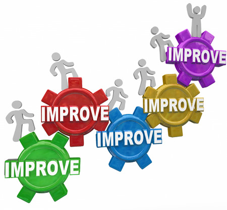 good better best: Improved word on gears with people, customers, workers or men walking up to illustrate improvement, better results and increased performance outcome