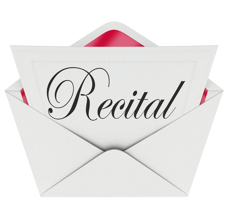 Recital word on an invitation, ticket or pass for admission to a music, dance or singing concert or performance Stock Photo