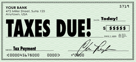 Taxes Due words on a check sent in to government as money owed on revenue or income Imagens