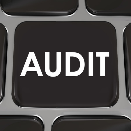 deduct: Audit word on a black computer keyboard key or button to illustrate a tax review to approve your bookkeeping or accounting practices in earning money Stock Photo
