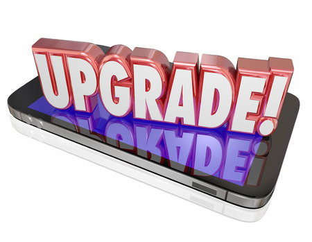 the latest models: Upgrade word in red 3d letters on a cell or mobile phone to advertise the latest, newest model or device