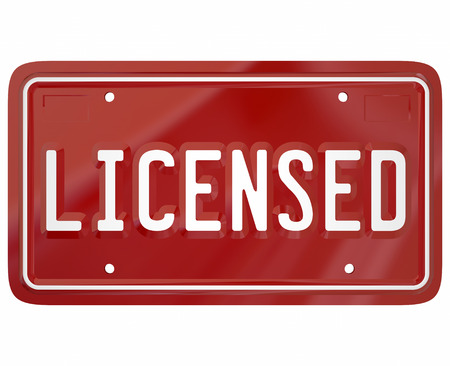 registering: LIcensed word on red auto vehicle license plate to illustrate registering to drive or own an automobile