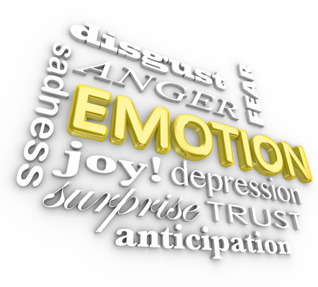 enojo: Emoci�n palabras 3d en un collage incluyendo la ira, asco, tristeza, la depresi�n, la tristeza, la anticipaci�n, el miedo y la alegr�a
