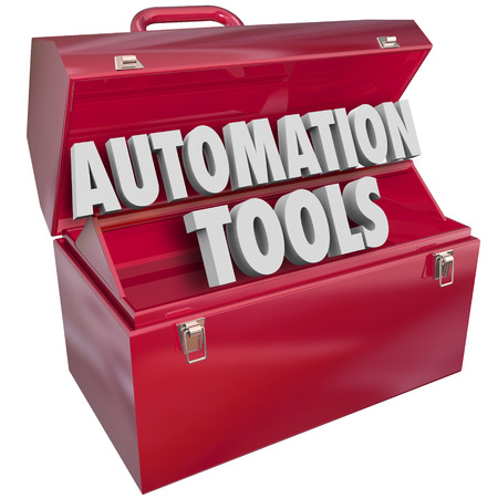 computerize: Automation Tools 3d letters form word in red metal toolbox to illustrate modern technology to help you increase efficiency and productivity Stock Photo