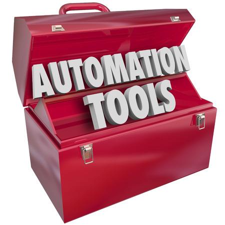 productividad: Cartas Herramientas de Automatización 3d forman la palabra en la caja de herramientas de metal rojo para ilustrar la tecnología moderna para ayudar a aumentar la eficiencia y la productividad