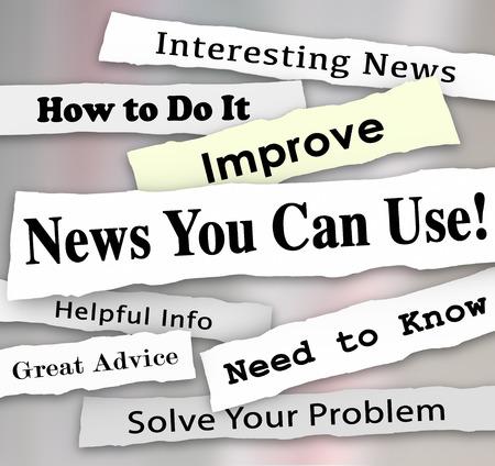 Noticias que puede usar las palabras en los titulares de periódicos rasgados de artículos, información o informes que le ayudará con necesitamos consejos, consejos u orientaciones