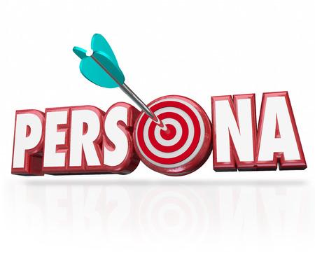 Persona woord in rode 3d letters en een pijl in de bullseye om koper of klant psychologie profiel of kenmerken illustreren