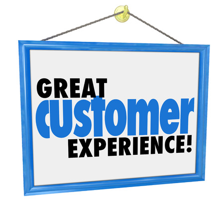 satisfied customer: Great Customer Experience words on a hanging sign in the window of a store, company or business committed to quality service and client satisfaction