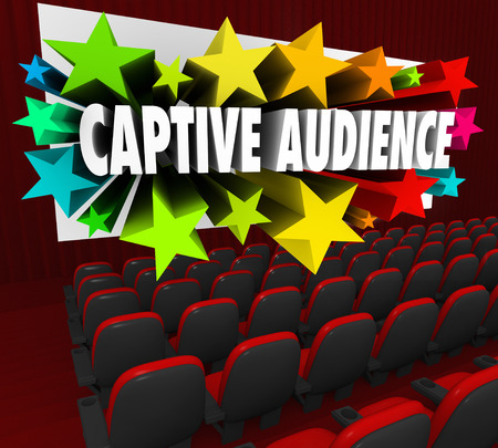 Captive Audience 3d words and stars shooting out of a movie theater screen to illustrate selling or communicating with people, customers, prospects or other audience Фото со стока