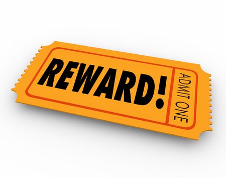 behaving: Reward word on a raffle or contest ticket for you to claim your award, prize or jackpot winnings in a drawing Stock Photo