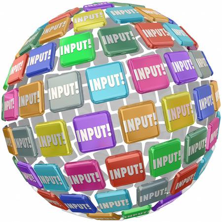 soumis: Mot d'entrée sur les carreaux dans un globe, sphère ou boule pour illustrer commentaires, des informations, des avis et des idées soumises par les travailleurs, employés ou clients Banque d'images