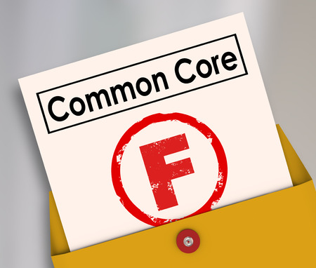 standardization: F Grade on report card for new common core educational school lesson guidelines and standards