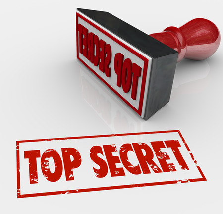 secretive: Top Secret words stamped in red ink to restrict access to confidential, sensitive or classified communication Stock Photo