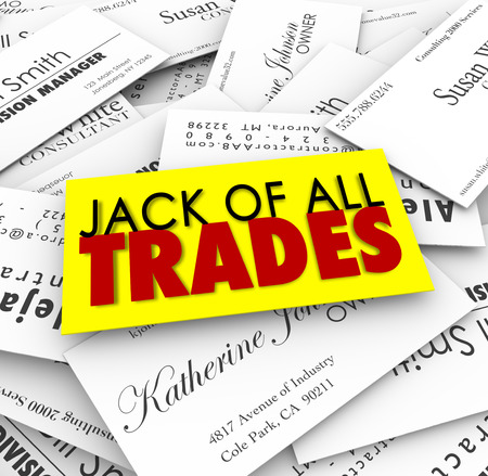 Jack of All Trades words on business cards to promote job candidate with diverse and versatiles skills and expertise to handle many tasks