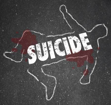 chalk outline: Suicide word written on a chalk outline of a dead body, a person who ended his life out of depression and wanting to end living