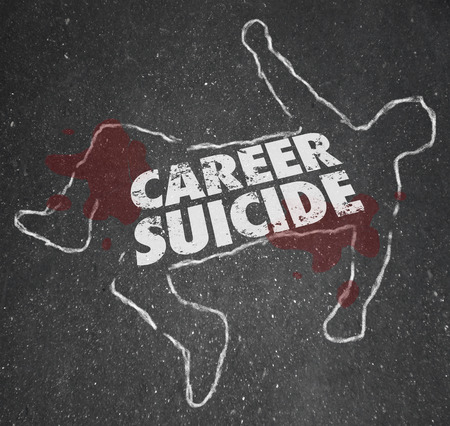 chalk outline: Career Suicide words on a chalk outline or dead body to illustrate or symbolize a worker or employee who did a foolish think or mistake and lost a job