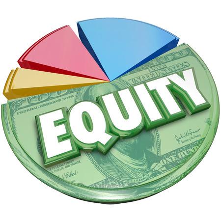 equity: Palabra Equidad en un gr�fico circular para ilustrar cuenta de inversi�n saldo de existencias para la cantidad adeudada o debido en la propiedad Foto de archivo