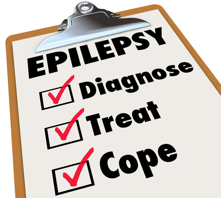 causing: Epilepsy word on a clipboard checklist for care and treatment of the neurological disorder causing seizures Stock Photo