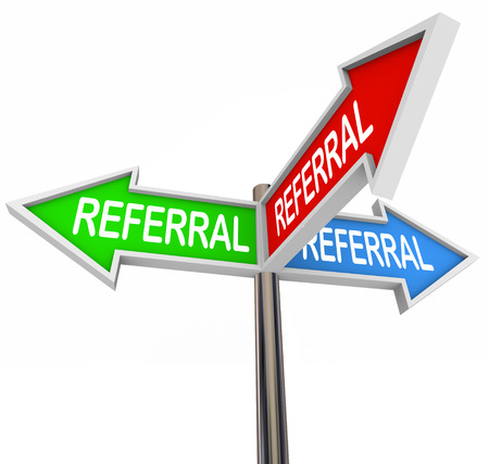 referral: Referral word on three arrow signs pointing to new business, customers, clients, prospects, traffic, patients or visitors in your audience or marketing base Stock Photo