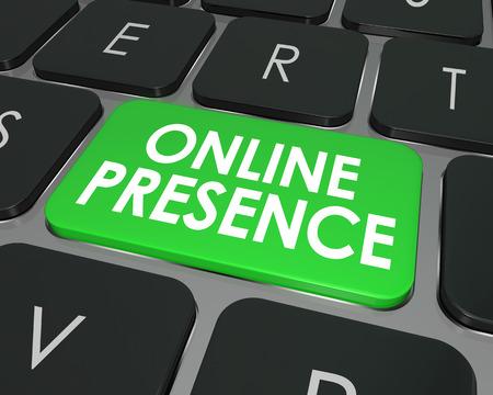 좋은 SEO 또는 검색 엔진 최적화를 통해 인터넷에서 좋은 웹 사이트 가시성을 설명하는 컴퓨터 키보드 키 또는 버튼의 온라인 존재 단어