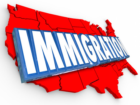 foreign policy: Immigration 3d word on red map of United States of America illustrating reform in status for legal residency or citizenship for aliens Stock Photo