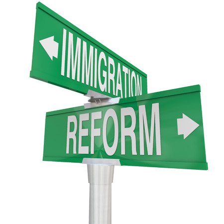 permitting: Immigration Reform words on two way road signs pointing way to changing legal residency or citizenship status of illegal aliens