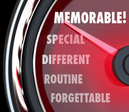 unforgettable: Memorable word on a speedometer measuring how unforgettable your performance was, with needle rising from forgettable, routine, different, special to top or best to remember