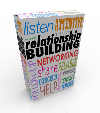 Relationship Building words on a product or package to help you grow your business through networking and attracting new customers Stock Photo