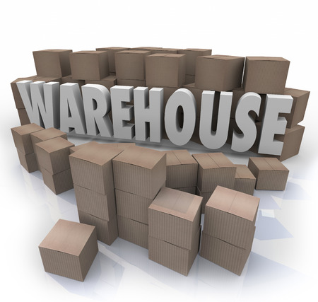 stockroom: Warehouse word in 3d letters surrounded by cardboard boxes to illustrate inventory management