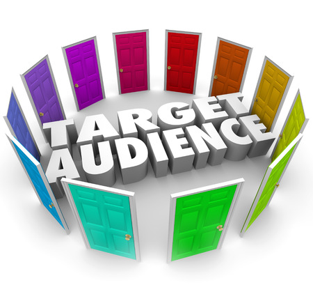 multiple targets: Target Audience words in 3d letters surrounded by many doors of opportunities for growing your business