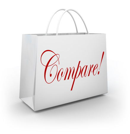 shoppe: Compare word on shopping bag for finding and purchasing item with lowest price on merchandise you need