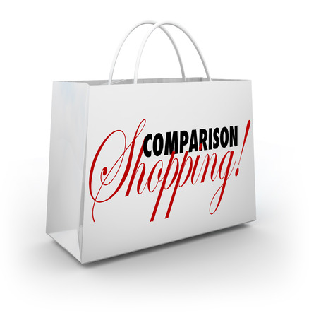 price uncertainty: Comparison Shopping words on a bag for purchasing or buying products or merchandise at lowest price or best deal