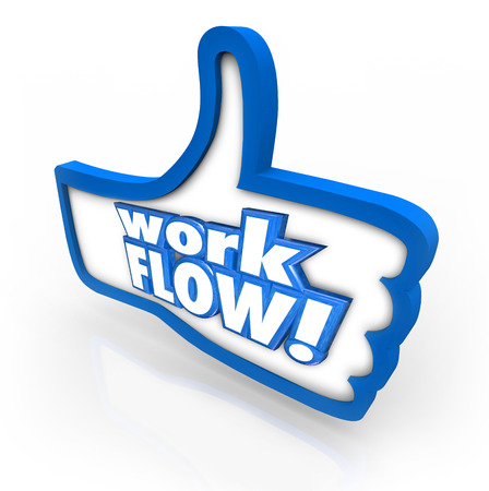 Work Flow words on a blue thumbs up symbol to illustrate approval for improved or better working system, process or procedure photo