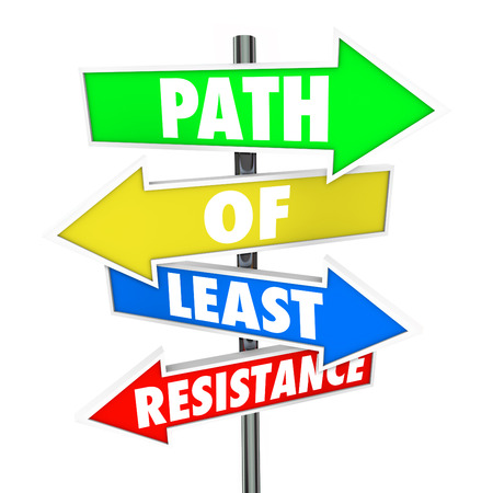 resisting: Path of Least Resistance Words on colored arrow signs pointing you to take the easiest route or way forward and avoiding conflict or difficulty